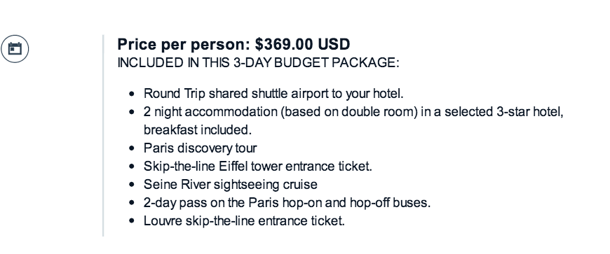 Included in France.com travel packages